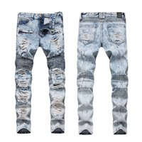Fashion Streetwear Men Jeans Retro Blue Hip Hop Ripped Jeans...