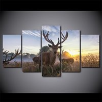 Abstract Canvas Art Poster Style 5 Panel Animal Deer Wall Pi...