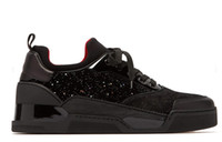 Italy Designer Red Bottom Sneakers Casual Sports Men Chaussures plates Mid Cut Baskets Aurelien en velours et daim scintillants 2019 Nouvel arrivage