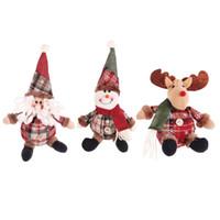 Weihnachtsbaum Ornamente Cartoon Weihnachten Puppe Schneeflocke Plaid Weihnachtsmann Elch-Puppe Navidad Anhänger Neujahr Kindergeschenke JK1910