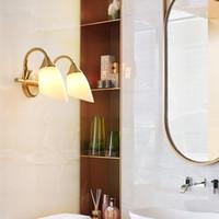 유럽의 고급 구리 거울 고귀한 벽 조명기구 벽 램프에게 욕실 침실 머리맡 메이크업 룸 주도 거울 조명 마운트 램프