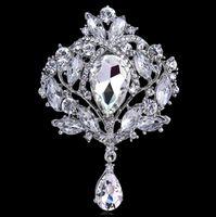 Joyería de la boda de la alta calidad grande cristalino de la lágrima Broche Rhinestone lleno de agua caída Corona broches regalo