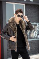 Män läderjacka man mode vinter pälsrockar snöjackor real tvättbjörn päls krage manlig tjock varm vindbrytare överrock plus storlek xxl
