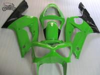 ABS пластиковые инъекции обтекатели комплект для Kawasaki 2003 2004 Ninja ZX6R ZX636 03 04 ZX-6R 636 зеленый черный мотоцикл обтекатель части тела