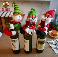 Bonito 3 estilos Favores da garrafa de Natal favores Santa Cláusula Grampos de garrafa de elfo Suportes Barato Boneco de Neve Xmas Decorações Suprimentos