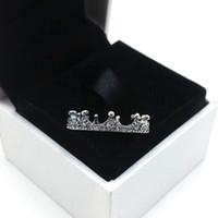 Tempérament Charm Couronne Anneau Pandora Luxury Designer 925 Or Argent Sterling Rose plaqué CZ Bague diamant Femmes originale Coffret