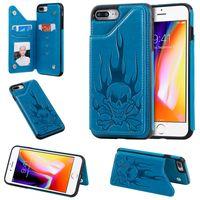 Para iPhone 6 6S / 6 Plus / 6S Plus / Plus 7 7/8 8 Plus Card Case prueba de golpes ranura PU billetera de cuero pata de cabra teléfono del cráneo de la contraportada