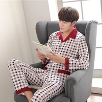 Yuzhenli high quality autumn Men Pajamas long Sleeve Male Pa...