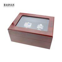 أعلى درجة 1،4،5،6 ثقوب مربع بطولة خواتم جديدة في عرض تغليف المجوهرات ، صندوق مجوهرات خشبي أحمر للعصابة