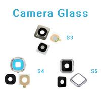Original Voltar câmera traseira com lente de vidro anel capa para Samsung Galaxy S3 i9300 S4 i9500 S5 G900 com etiqueta Peças de Reposição