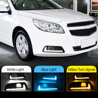 2pcs LED Feux de jour DRL lampe de brouillard pour Chevrolet Malibu 2011 Chevrolet 2012 2013 2014 2015 Signal Jaune