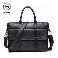 Erkekler Ofis Dizüstü Messenger Deri Tote İçin Scione Erkek İş Çanta Deri çantası çanta
