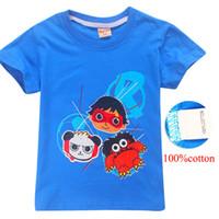 4 colores para niños 4-12y los niños 100% camiseta del algodón de las camisetas Ryan Juguetes Revisión de ropa de diseño niños chicos ropa de los niños de DHL FJ05