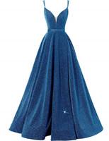 Pailleté Side Slit robe de soirée sexy Décolleté en V Spaghetti Strap Robe longue bal wiith poches haut de Split formelle robe de bal lacent Retour