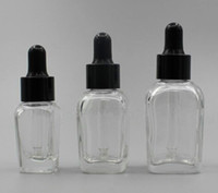 30ml 1oz clear glass dropper bottle square with black white ...