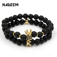 Fashion Handmade 2Pcs Lot CZ Crown Charm Couple Lava Stone B...