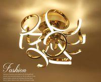 Novo estilo breve LEVOU Lustre de teto cromo ouro plafonnier lâmpada led moderna sala de estar quarto iluminação diâmetro 50 cm
