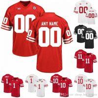 Uomo Personalizzato Nebraska CornHuskers Red Bianco Cucitato qualsiasi nome numero 2 Adrian Martinez 8 Stanley Morgan Jr. 10 JD Spielman Jerseys S-4XL