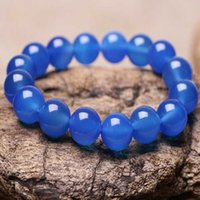 Puro Natural Calcedonia Azul Pulsera de Ágata Jade Tallado A Mano Joyería Regalos Al Por Mayor