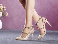 Senhoras do escritório de negócios, sapatos de salto alto, sapatos de luxo europeu das mulheres, sandálias de couro real de alta qualidade com caixa