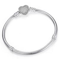 Pandora Strands 925 Sterling Silver-shaped Heart-shaped Talismã pulseira se encaixa acessórios femininos com jóias básicas