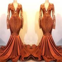 Polvo de manga larga vestidos de baile 2020 Orange barrido Apliques cordón de la sirena vestidos de noche de satén de tren barato Partido formal del vestido de ropas de soirée