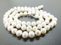 """Collier de perles de haute qualité classiques de 6MM avec perles d'eau douce blanches naturelles. Envoyer un ami, maman, le meilleur cadeau de 18 """""""