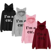 Mignon 3D Chat Oreille Hoodies Femmes Sweat À Capuche Je Suis Un CAT Imprimé À Manches Longues Pulls Survêtement Survêtement Top Manteau S-2XL