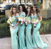 2019 elegante menta verde sirena damigella d'onore damigella d'onore vintage pizzo top off la spalla matrimonio guest cameriera di honor abito plus size su misura