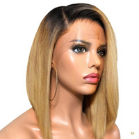 T1B / 27 короткий боб 13x4 кружева фронт человеческих волос парики для женщин медовые блондинки 130% OMBRE Color Remy Burgundy T1B / 99J среднее соотношение JKO