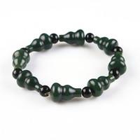 Hetian naturel Qing jade Bracelets perles Bracelets Bangles gourde cadeau sculpté Bijoux homme Jades