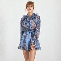 Bir Çizgi Boho Moda Casual Baskı Kadın Tulum V Yaka Uzun Flare Kol Yüksek Bel Gevşek Tulumlar Kadın Moda Yeni 2020 Yaz