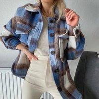 여성 재킷 2021 여성 캐주얼 격자 무늬 블루 BSK 코튼 긴 재킷 여성 봄 패션 단일 브레스트 느슨한 셔츠 아웃웨어 더블 포켓