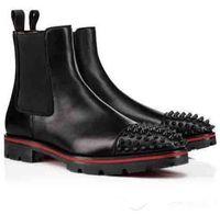 Ботильоны Дизайнерская Женщины Мужчины Ботинки Red Bottom Дизайн Низкие каблуки из натуральной кожи замши с заклепками Melon Spikes Flat Short Knight