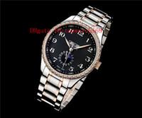 Top 42 mm Master Collection reloj del diamante del reloj para hombre Cal.L600 automática Luna calendario anual fase de zafiro de la madre-de-perla Dial acero 316L