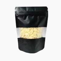 Stand Up Alüminyum Fermuar Mühür Çanta Mat Temizle Plastik Pencere Siyah Zip Mylar Folyo Paket Çantası Doypack Kahve Snacks Çay Saklama Torbaları