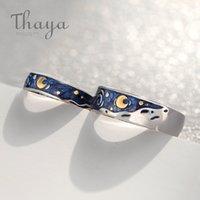 Эмаль пара Тайя Ван Гог кольца Sky Star луна S925 серебро Блеск кольца Обручальное кольцо Свадебные украшения для женщин LY191217