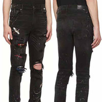 19SS Brand New Mens Jeans Distressed Ripped Biker Jeans Slim...