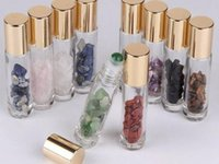 Pierres semi-précieuses naturelles Huile essentielle gemme de gemme de rouleaux de rouleaux de bouteilles de cristal de cicatrisation en verre clair 10ml
