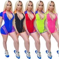 Felyn 2020 New Arrival Playsuits Solid O-neck Zip Summer Casual Bodycon Rompers