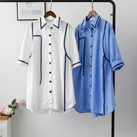 2020 camicia donne Summer Dress Full-Cotton New coreano mezza manica blu bande verticali Dress