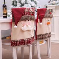 Boże Narodzenie krzesło obejmuje jadalnia krzesło xmas krzesło z powrotem pokrywa bałwan Santa Claus kapelusz Slipbovers dekoracje dekoracje festiwalu jk1910