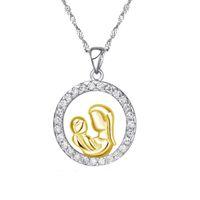 День матери Ожерелье Отправить Мать Циркон Серебро Полный круг и Детская Тема Ювелирные Изделия Подвесной Подарок