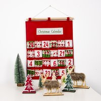 Red Christmas Advent Calendar Wall Hanging Xmas Ornament Impressão Saco dos doces Count Down admissão sacos do presente Decoração XD22425