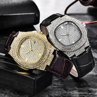 Men Wristwatch Bling Fully Rhinestone Quartz Iced Out Gold S...