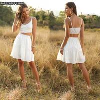 İki Parça Elbise 2021 Yaz Basitlik 2 adet Setleri Bayan Uyarıları Beyaz Seksi Kısa Üstleri Yelekler Yüksek Bel Etekler Düğün Plaj Sundress