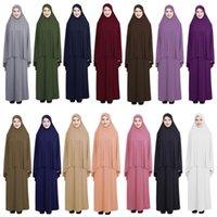 여성기도 의류 세트 무슬림 Abaya 길밥 롱 드레스 아랍 hijab 스카프 이슬람 라마단 오버 헤드 풀 커버 숭배 서비스 중동