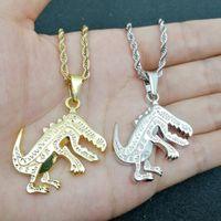 Хип-хоп Динозавр кулон Ожерелья для мужчин Женщины Мужские Подвески Животных Животных Золото Серебряные Цепи Ожерелье Подарок Ювелирных Изделий