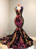 Sparkly Sequin Velvet Mermaid African Prom Dresses 2020 Vestidos de gala Sexy V-Neck Court Train Black Girls Evening Party Dress