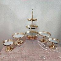 1PCS محفظة 5pcs مرآة مناسبات الزفاف 2 أو 3 الشق كب كيك العرض معدن الذهب كعكة حامل فاخر حزب الجدول الديكور
